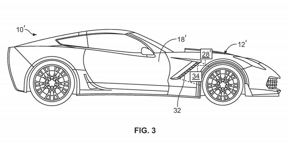 A diagram from a Chevrolet patent on active aero