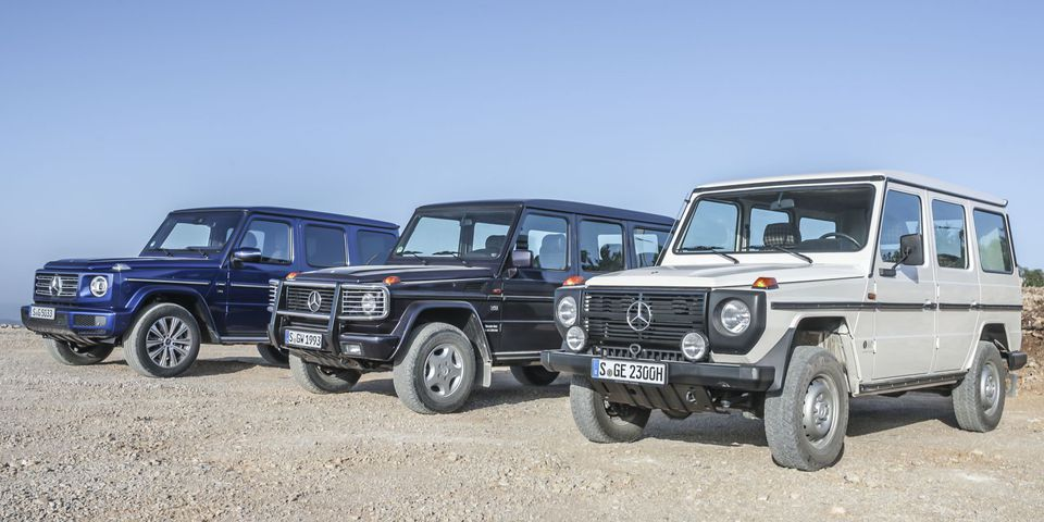A 1985, 1993 and 2019 Mercedes-Benz 230 G-Wagen (460) Mercedes-Benz 230 GE, produced in 1985, from the range of vehicles available from ALL TIME STARS, the vehicle trading platform of Mercedes-Benz Classic.