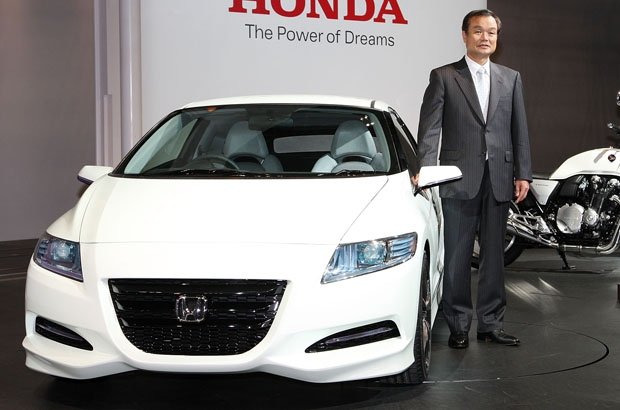 Honda Motor president, Takanobu Ito, introduces the company's new concept car CR-Z Concept car.