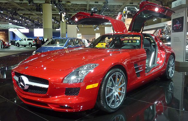 The 2011 Mercedes-Benz SLS AMG on display at the Metro Toronto Convention Centre in Toronto during the Canadian International Auto Show on February 11, 2010. The show will be open to the public from February 12 - 20.
