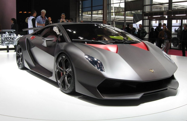 Lamborghini Sesto Elemento on display at the 2010 Paris Motor Show.