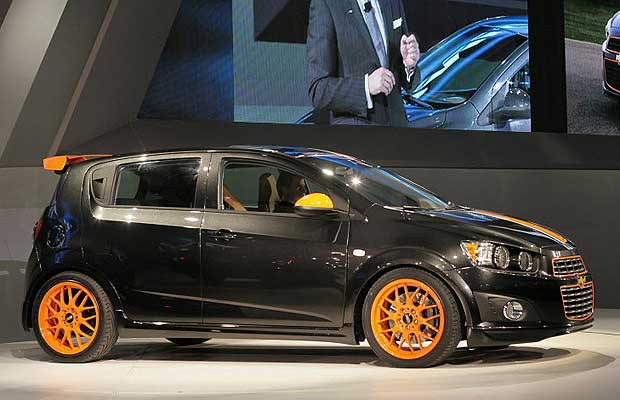 The new 2012 Chevrolet Sonic Z-Spec concept at the North American International Auto Show on January 10, 2011 in Detroit, Michigan. The show is open to the general public January 15-23.