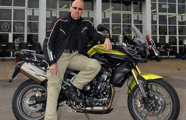 David Booth with a 2011 Triumph Tiger 800.