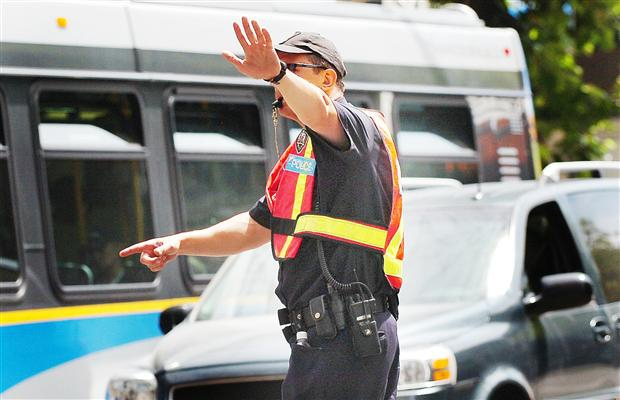 Police control traffic control in Vancouver in this file photo.