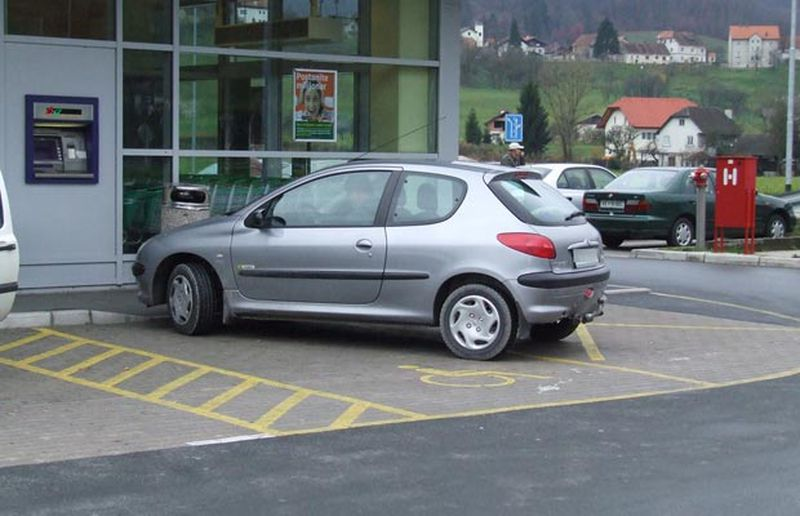 Angle parked, disabled spot