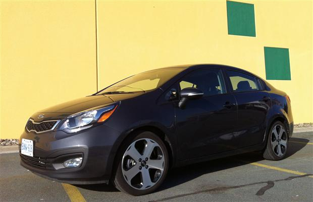 The object of Lisa's desire: 2012 Kia Rio sedan with its eye-catching exteriour design.
