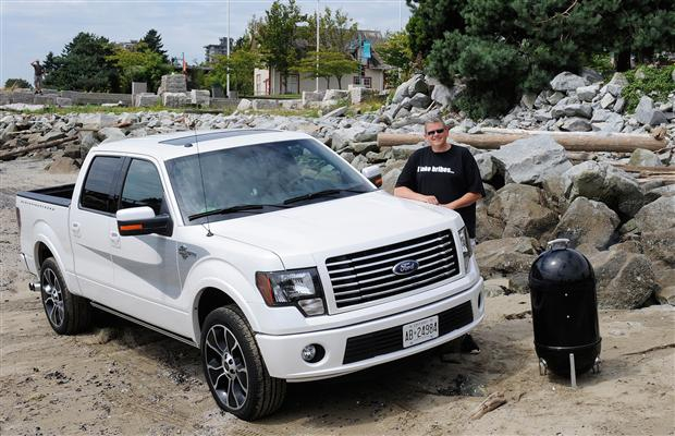 Kevin Legge with the 2012 Harley-Davidson Ford F-150 pickup truck at Ambleside Beach in West Vancouver.