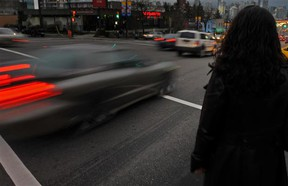 The combination of darkness and precipitation in the fall months makes speeding a dangerous act, especially so at intersections where pedestrians are often present.