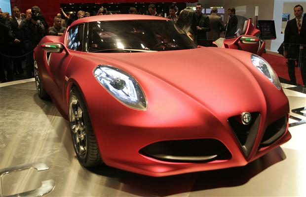 An Alfa Romeo 4C during the 2011 Geneva Motor Show in Geneva.