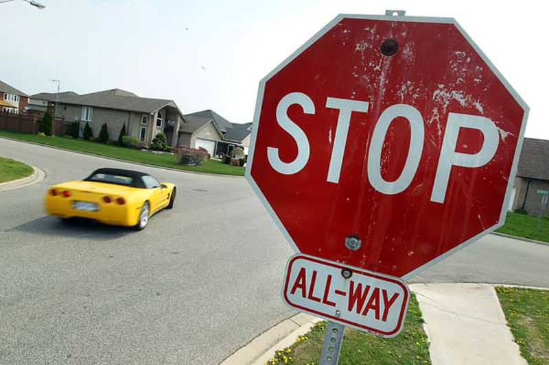 A stop sign on Amy Croft Drive in Lakeshore is pictured on Thursday, May 12, 2011. Of all the 37 all-way stop intersections in Lakeshore, none of them meet provincial guidelines.