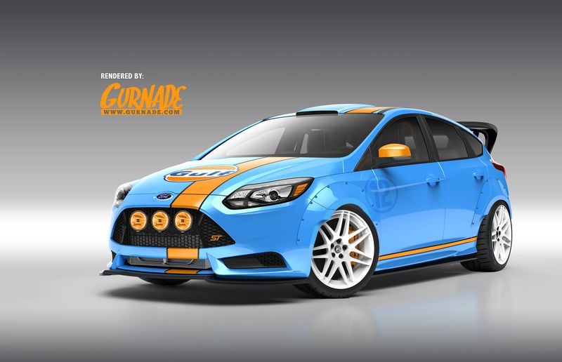 Like the Ford GT40, this Focus ST tuned by Universal Technical Institute is wearing snazzy Gulf livery.