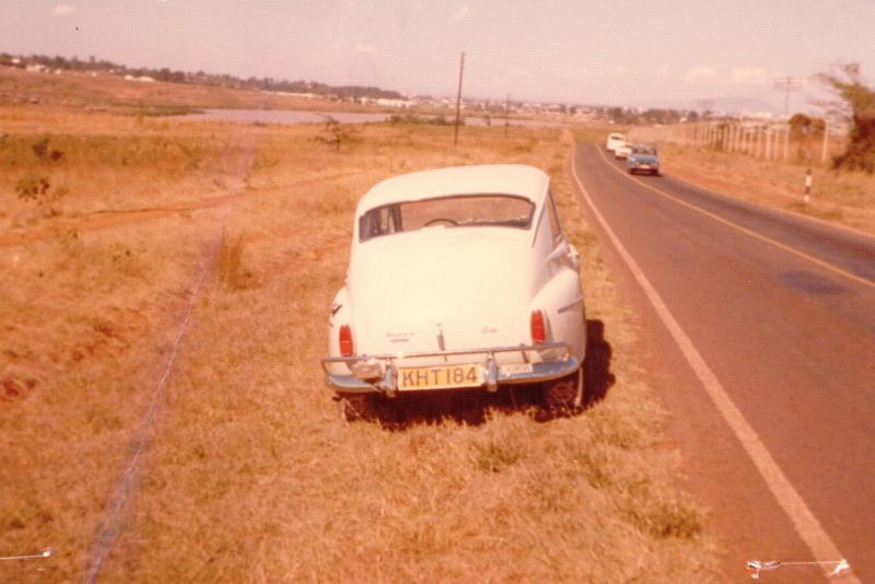 The fully-restored rally-car in Kenya in the 1970s. Note that Kenyans drive on the left, but the car is left-hand-drive.