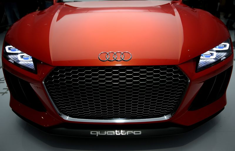 The Audi Sport Quattro Laserlight Concept car is displayed at the Audi booth at the 2014 International CES at the Las Vegas Convention Center on Jan. 7, 2014 in Las Vegas, Nevada.