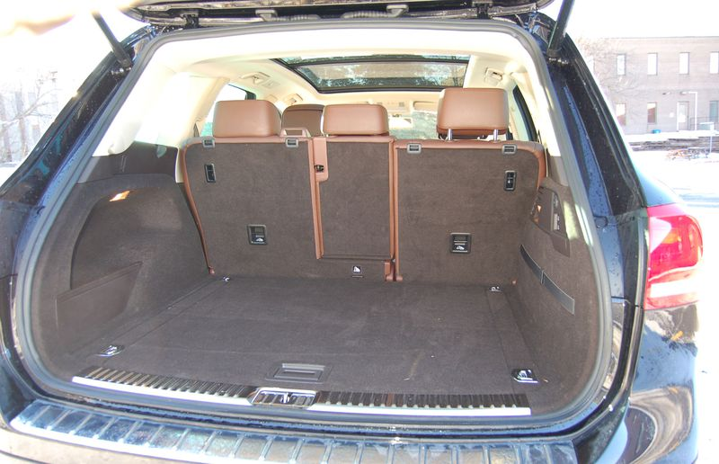 The Volkswagen Touareg seats five people, which means there's ample space in the back for cargo.