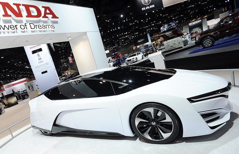 The Honda FCEV concept car is on display during the Chicago Auto Show.