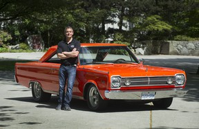 Jason Heard with the 1966 Satellite that's been painted in A&W orange and will be auctioned off at the Vancouver Collector Car Show & Auction with proceeds going to the MS Society.
