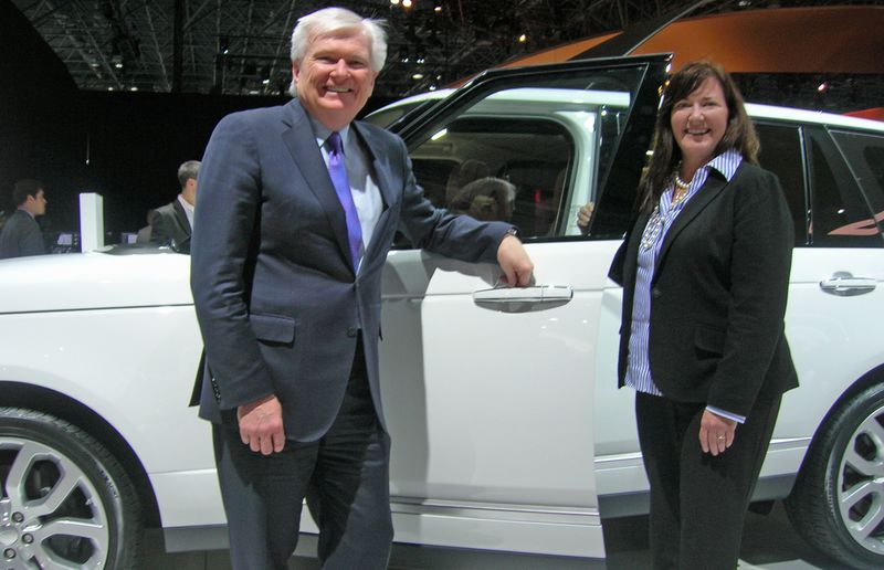 Lindsay Duffield, president of Jaguar Land Rover Canada, left, and Kim McCullough, brand vice-president, Land Rover North America, pose for a photo at the 2014 New York Auto Show.