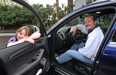 Ralf Dauns and his grand daughter check out a new Audi RS Q5.