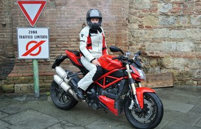 Ladies Riding Gear 01- Textile outfits, like the one offered by REV'IT, keeps riders dry even in the pouring rain, but can also be used in warm weather