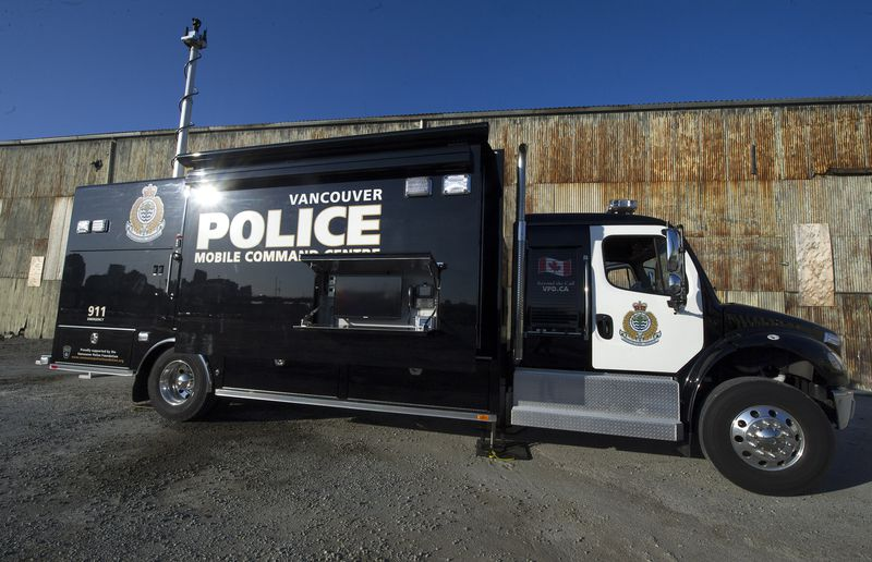 The Vancouver Police Department Mobile Command Unit sits atop a 2013 Freightliner extended cab truck chassis powered by a 300-hp diesel.