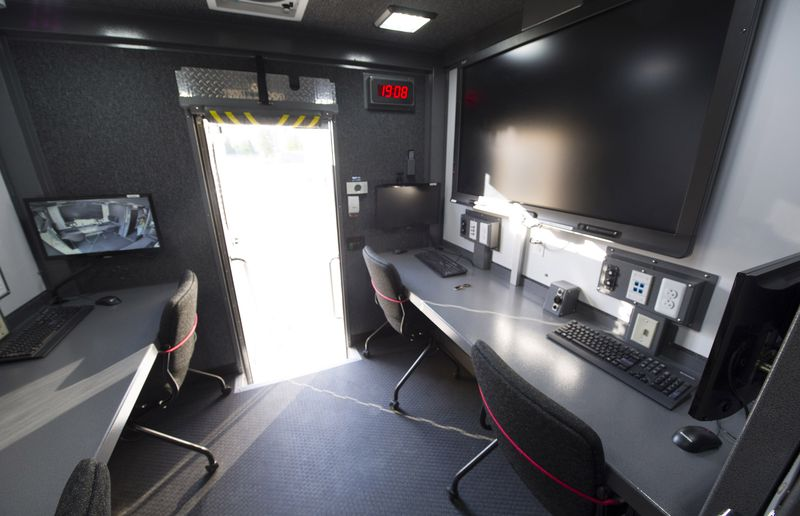 Inside the VPD Mobile Command Unit are computers, live video screens and digital communications, with on-board power source.