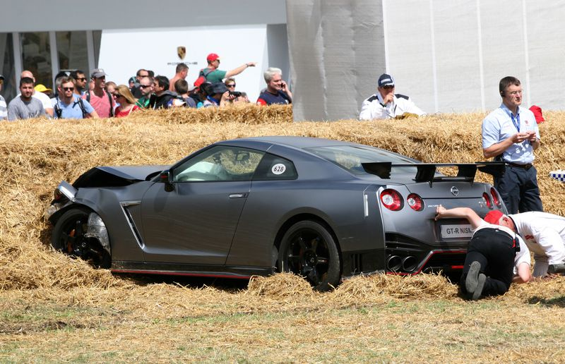 This poor Nissan GT-R was wrecked on the hillclimb.
