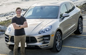 Race car driver Scott Hargrove poses with a 2015 Porsche Macan at White Rock beach Tuesday September 16, 2014.