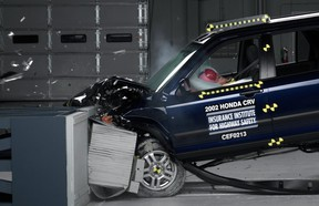 This undated photo provided by the Insurance Institute for Highway Safety shows a crash test of a 2002 Honda CR-V, one of the models subject to a recall to repair faulty air bags. Honda is one of the