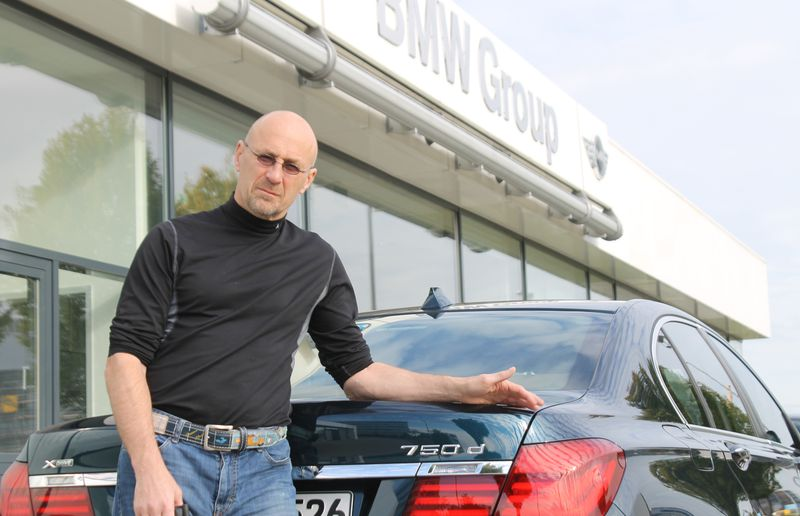 David Booth with a diesel-powered BMW 7 Series.