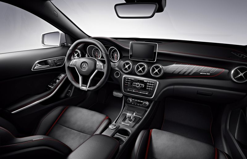The 45 AMG's interior underscores the driver-centric nature of this performance CUV.