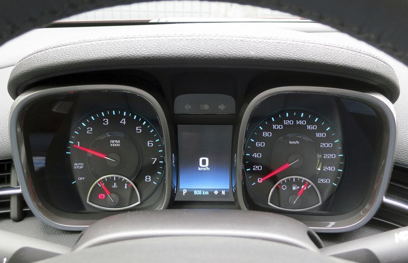 In theory the Malibu's hooded gauge cluster should be easy to read, but the angle of the protective lenses seems prone to reflections that can hinder visibility.