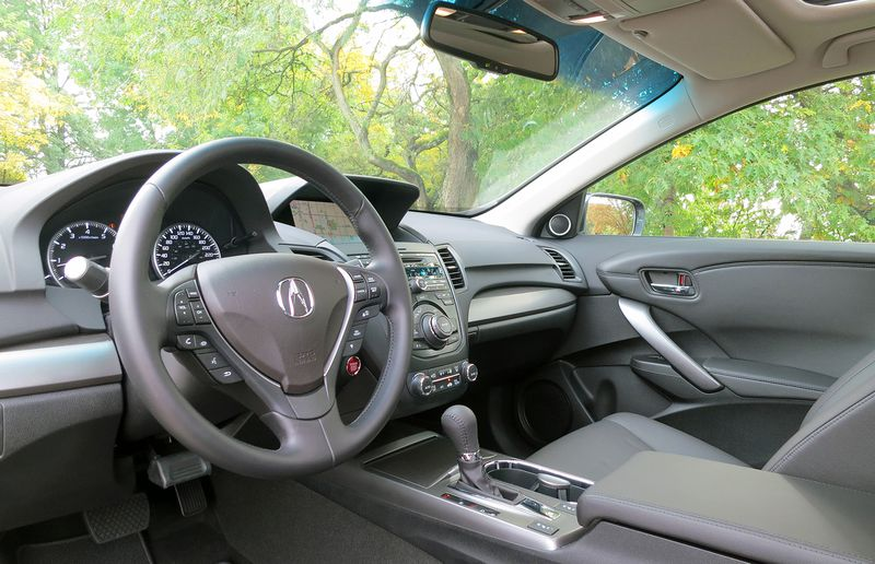 The cockpit of the RDX places all controls and instrumentation within easy reach of the driver.