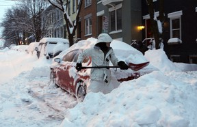 Keeping a shovel in the trunk is a good idea in the winter.