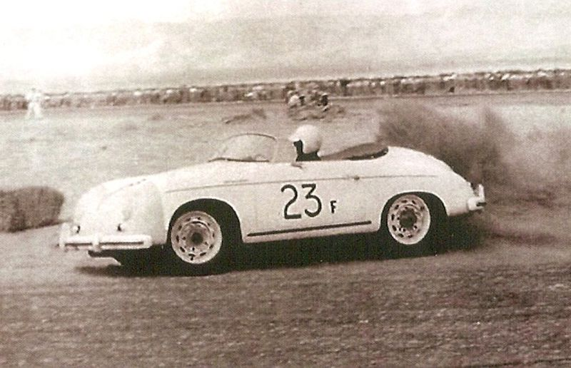 James Dean in a Porsche Speedster 23F at Palm Springs Races March, 1955.