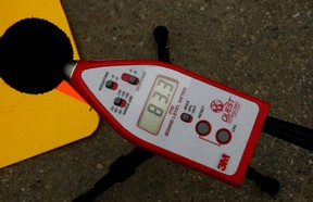 Sound level meters are used to measure workplace noise in decibels. In the driver's seat of a big rig, the noise can come from both the engine and safety attention-getters on work sites like the waterfront.