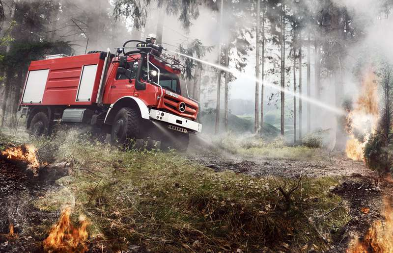 Unimogs can be outfitted to do a variety of specialized tasks like fighting fires.