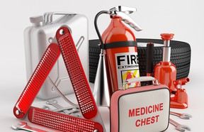 You can purchase safety kits from most auto supply dealers and retailers or put one together yourself.