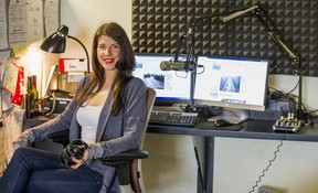 Traffic reporter Shanyn Maguire in her office at the Boundary Bay Airport in Delta, B.C.