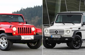 2015 Jeep Wrangler Unlimited and 2015 Mercedes-Benz G-Class.