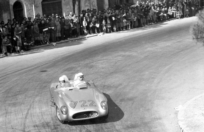 Stirling Moss and Denis Jenkinson driving the Mercedes-Benz 300 SLR in the 1955 Mille Miglia.