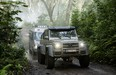 The Mercedes-Benz G63 AMG 6x6 and Sprinter on the set of Jurassic World.
