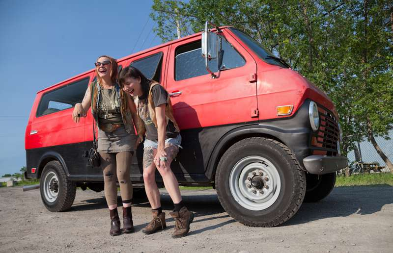 """Roberta Watt's best friend Natalie Roy, left, travelled from Vancouver to lend her friend a hand with her """"Big Red"""" adventure."""