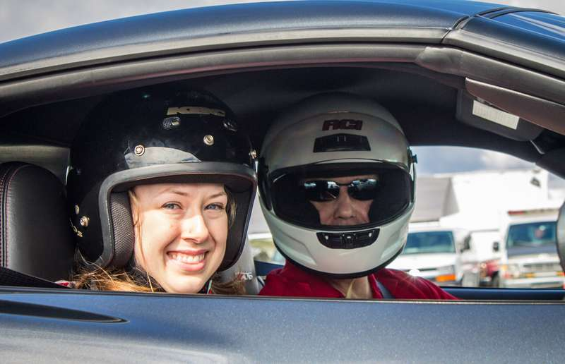 Michelle Champion about to go for a ride with her father, Jeff, in his Corvette Z06.