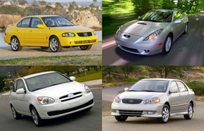 2005 Nissan Sentra, top left, Toyota Celica, top right, 2007 Hyundai Accent, bottom left, and 2003 Toyota Corolla.