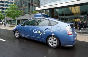 The Google self-driving car maneuvers through the streets of in Washington, D.C. May 14, 2012. The system on a modified Toyota Prius combines information gathered from Google Street View with artificial intelligence software that combines input from video cameras inside the car, a LIDAR sensor on top of the vehicle, radar sensors on the front of the vehicle and a position sensor attached to one of the rear wheels that helps locate the car's position on the map.