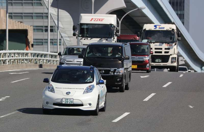The prototype self-driving Nissan Leaf hits the streets of Tokyo.