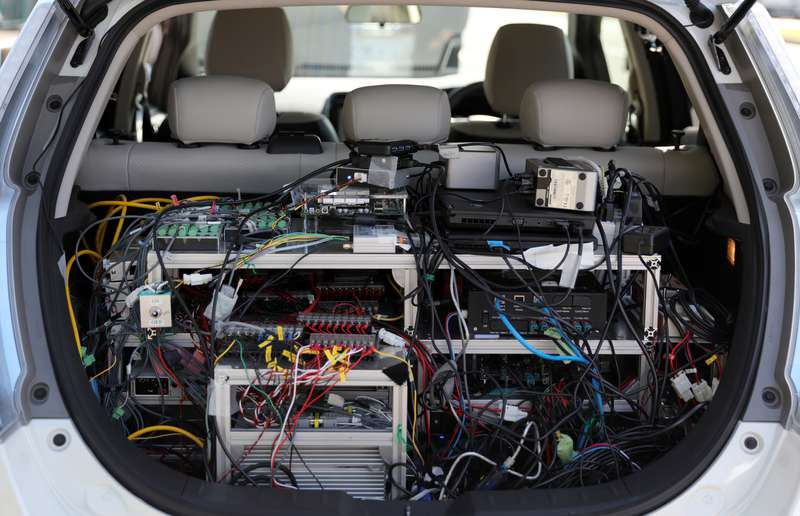 The trunk on this prototype autonomous Nissan Leaf is full of all manner of wires, sensors and gizmos. Needless to say, this self-driving Leaf is still a long way from prime time.