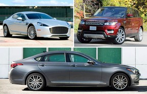 The 2015 Aston Martin Rapide S, top left, 2016 Range Rover Sport Td6 HSE, top right, and 2016 Hyundai Genesis.