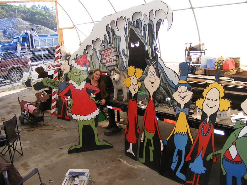 731: Victoria dump truck driver Christin Schroeder with the Whoville and friends display she is building for the float she will tow in Christmas convoys in through Victoria on Saturday and Cloverdale Sunday.