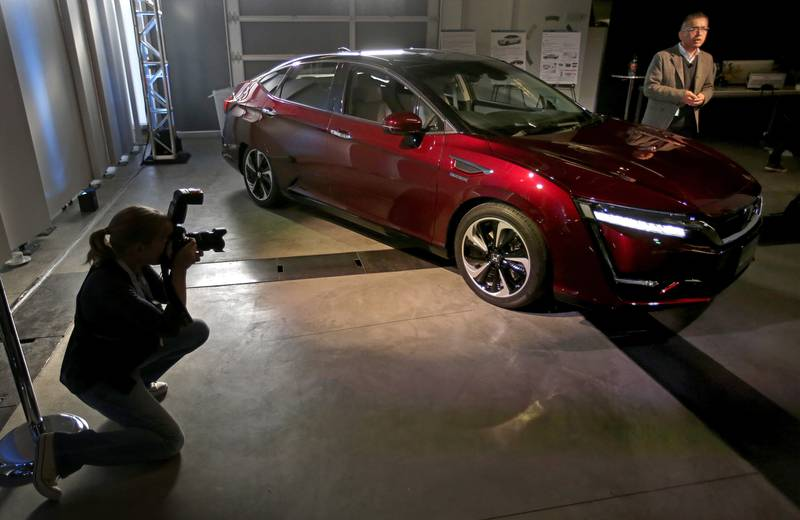 Honda's Clarity fuel-cell vehicle at Honda's Advanced Design Studio on the eve of the 2015 Los Angeles Auto Show.